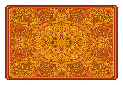 - Lunarable Ethnic Pet Mat for Food and Water, Middle Eastern Old Fashioned Carpet Pattern Inspired Retro Oriental Image, Rectangle Non-Slip Rubber Mat for Dogs and Cats, Marigold Orange Green