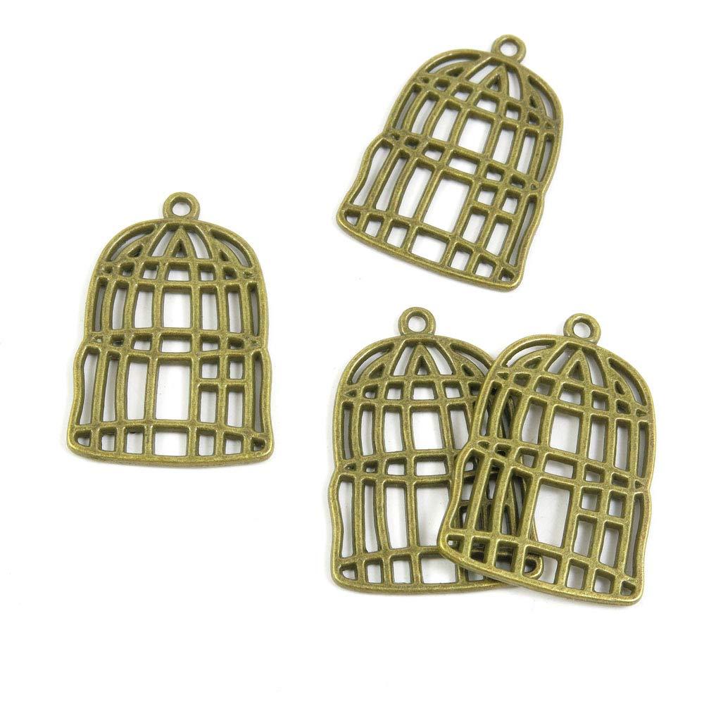 Abalorios de joyería de tono bronce antiguo D5EM6I jaula para ...