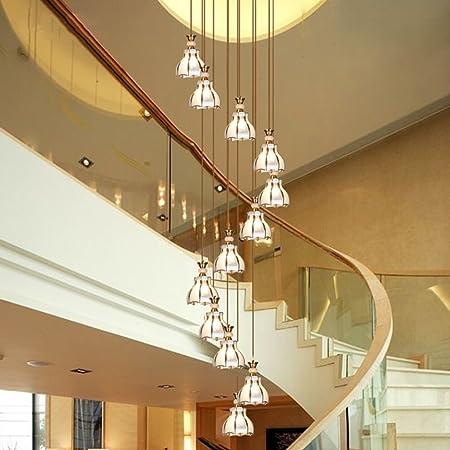 Amos Araña de Escalera de Varios Niveles Sala de Estar de Jacquard Lámparas de Jade Villa Continental Araña de Cobre Lámpara de Escalera Lámpara de araña Larga (Tamaño : 50 * 250cm):