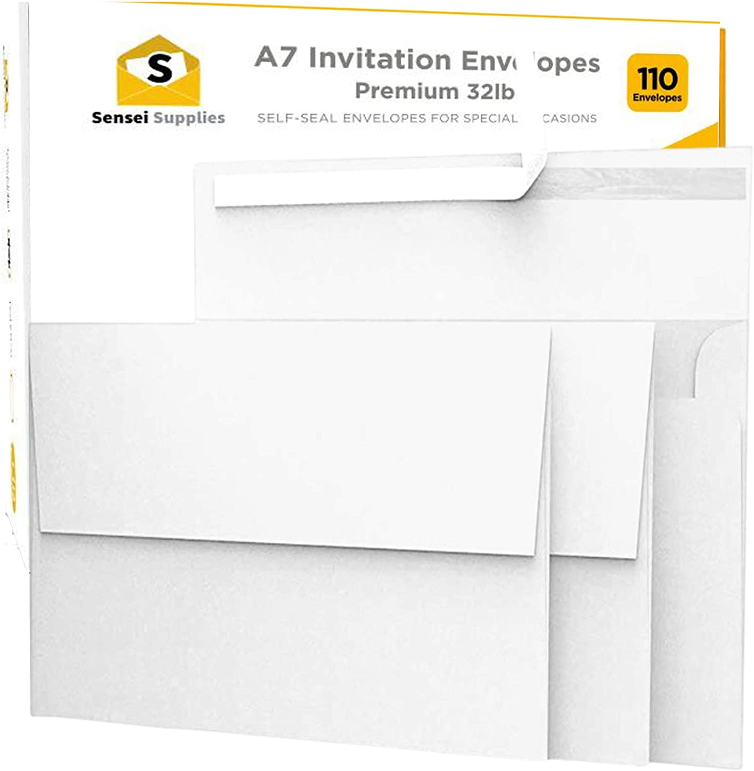 110 5x7 White Invitation Envelopes - for 5x7 Cards - A7 - (5 ¼ x 7 ¼ inches) - Perfect for Weddings, Graduation, Baby Shower - 120 GSM - Peel, Press & Self Seal - Square Flap