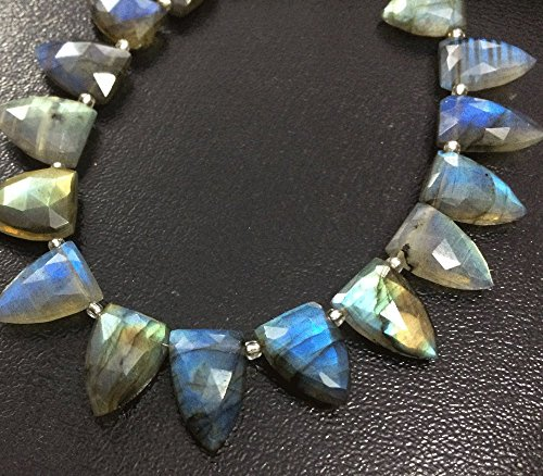 NATURAL LABRADORITE ARROWHEAD FACETED NUGGETS LOOSE GEMSTONE SLICE BEADS WHOLESALE LOT GEMSTONE BEADED JEWELRY NECKLACE (Necklace Gemstone Trillion)