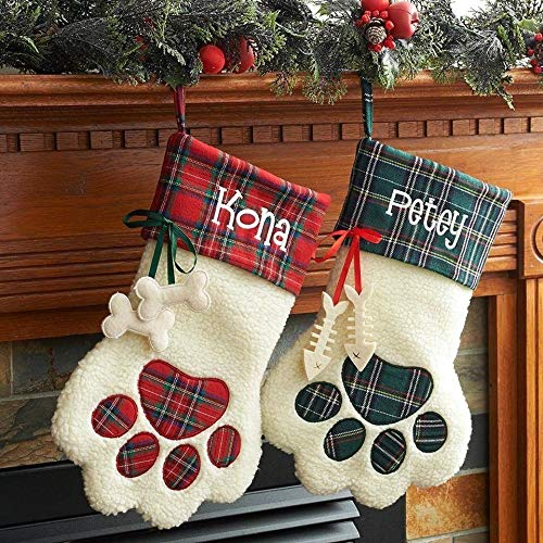 3D Personalized Embroidered Plaid Dog Paw Christmas Stocking (Red Plaid-Dog) ()