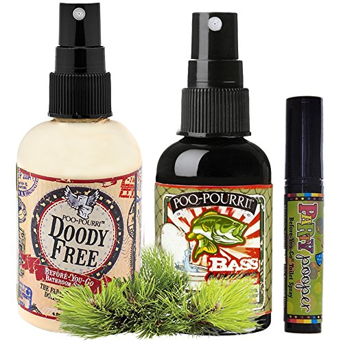Poo-Pourri Gift Set,Poo-Pourri Before-You-Go Toilet Spray 4-Ounce,Bottle,Doody Free, Poo-Pourri Before-You-Go Toilet Spray 2-Ounce Bottle,Bass Ackwards,4ml Travel Size Disposable Spritzer,Party Pooper