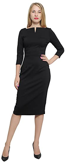 Marycrafts Womens Work Office Business Square Neck Sheath Midi