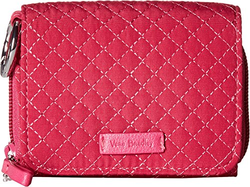 Fully Lined Quilted Wallet - Vera Bradley Women's Iconic RFID Card Case Passion Pink One Size