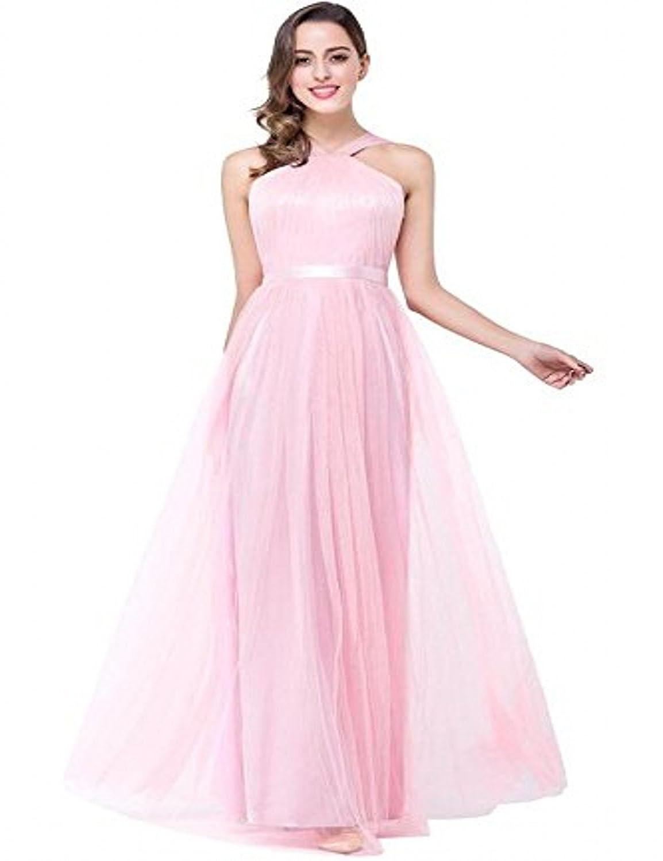 Babyonline® Damen Lang Chiffon Rosa Abendkleider Ballkleid Brautjunfernkleider