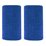 Bbolive 4' Inch Wrist Sweatband in 13 Different Neon Colors - Athletic cotton Terry Cloth-Great for All Outdoor Activity(1 Pair) (Blue)