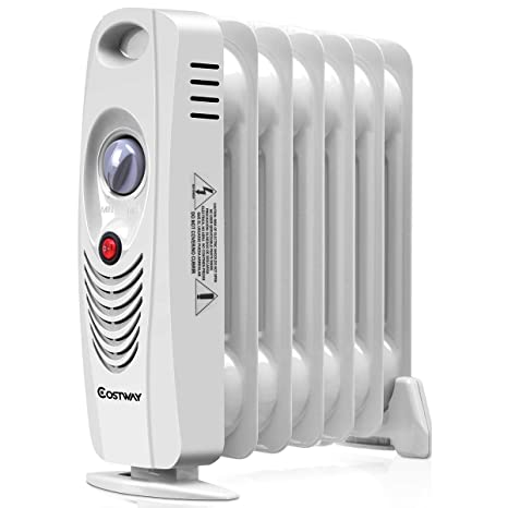 0656396511f Amazon.com  COSTWAY Oil Filled Radiator Heater Mini Portable Electric Room  Thermostat 700W (14