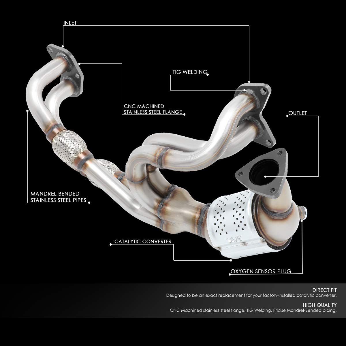 OE Style Catalytic Converter Exhaust Pipe Replaces for Subaru Forester Impreza Sport Legacy Outback 2.5L Non Turbo 06-12