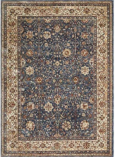 Home Dynamix Nicole Miller Belmont Suzanne Area Rug 9 2 x12 5 , Traditional Damask Navy Blue Ivory