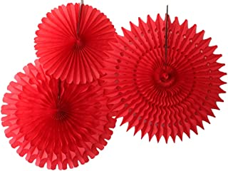 product image for Set of 3 Honeycomb Tissue Fans, Red (13-21 Inch)