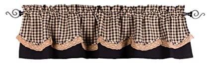 Home Collections by Raghu 72x15.5, Black and Nutmeg Heritage House Lace Fairfield Valance