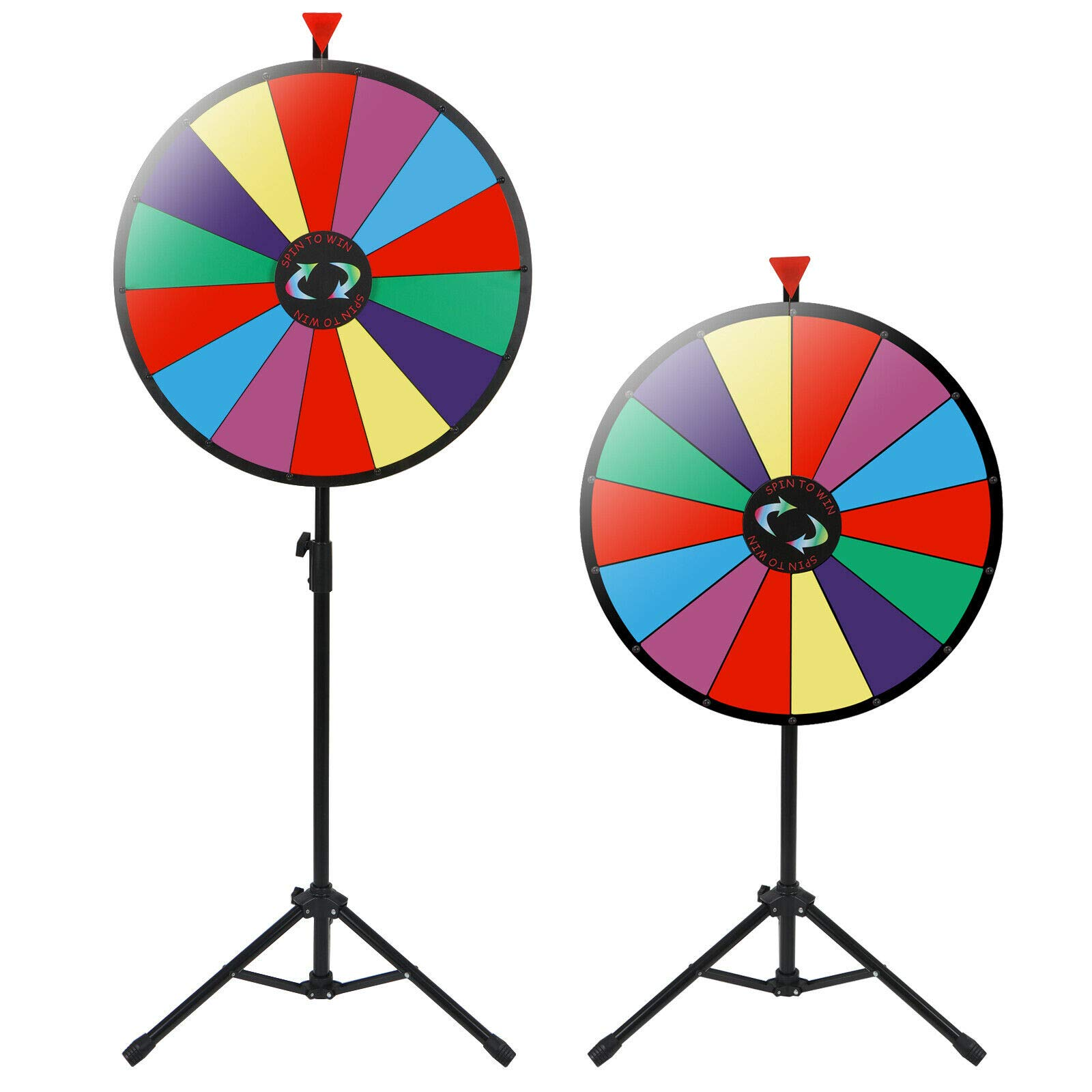 24'' Prize Wheel Metal Tripod Adjustable Floor Stand Editable Reusable Dry Erase Color Portable 14 Slot Perfect For Trade-shows Promotion Activities Carnivals Annual Meetings Holiday Activities Parties by Auténtico (Image #4)