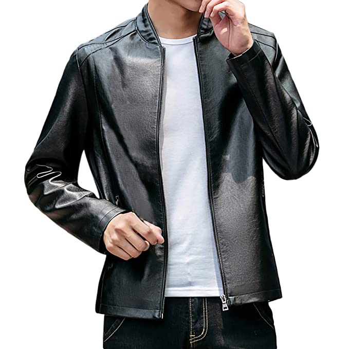 18737ce3ae9 Amazon.com  Mens Leather Jacket Slim Fit Stand Collar PU Motorcycle ...