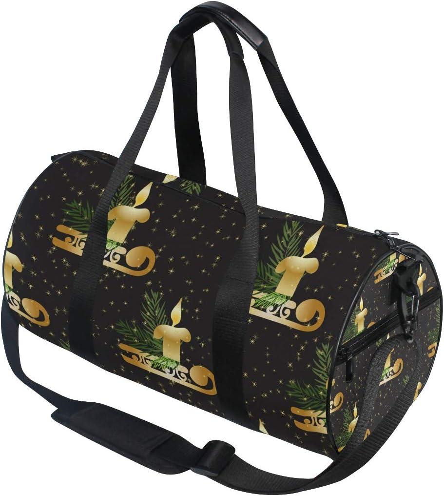 MALPLENA Golden Christmas Candle Pattern Drum gym duffel bag women Travel Bag