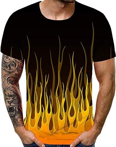 Moda Camiseta Hombre Manga Corto, Tops Hombres Nueva Camiseta De Verano para Hombre con Cuello Redondo, Manga Corta, Llama Azul, Top Estampado En 3D: Amazon.es: Ropa y accesorios