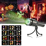 Decorative Lights Projector, SENDOW 12 Slides Holiday LED Lights Halloween/Christmas/Birthday Party Lights, Handheld Rechargeable Flashlight Tripod