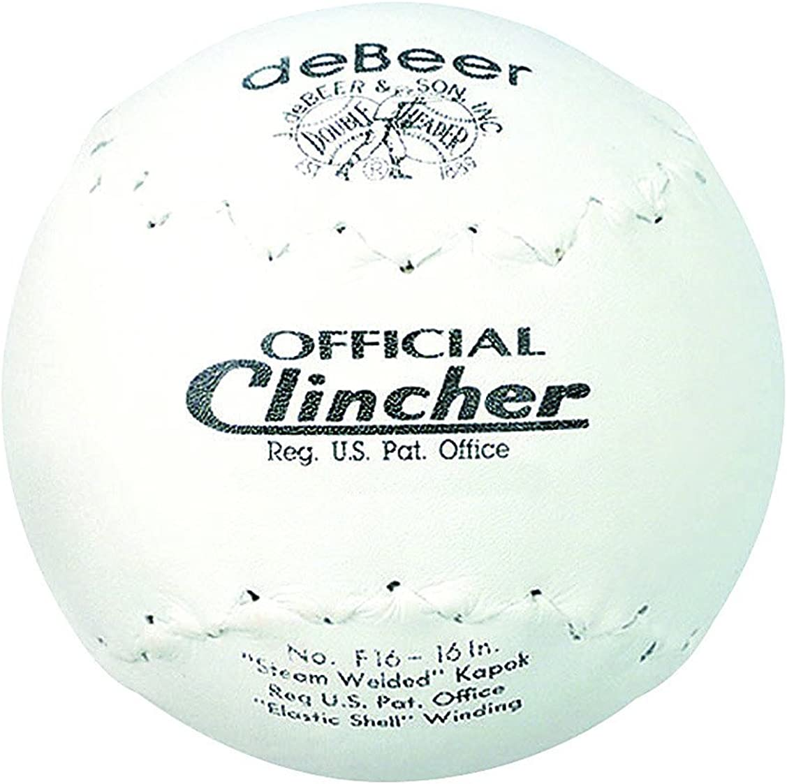 """deBeer Rawlings Sporting Goods F16 Official Clincher Softball 16"""", white : Clothing"""