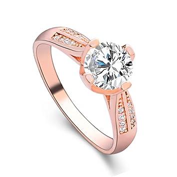bfcc0d3825cc2 Amazon.com: WoCoo Super-Flash Ring Flower Crystal Ring for Women ...