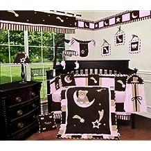 Custom Baby Girl Boutique - Brown Pink Bear and Moon 13 PCS Crib Bedding Set