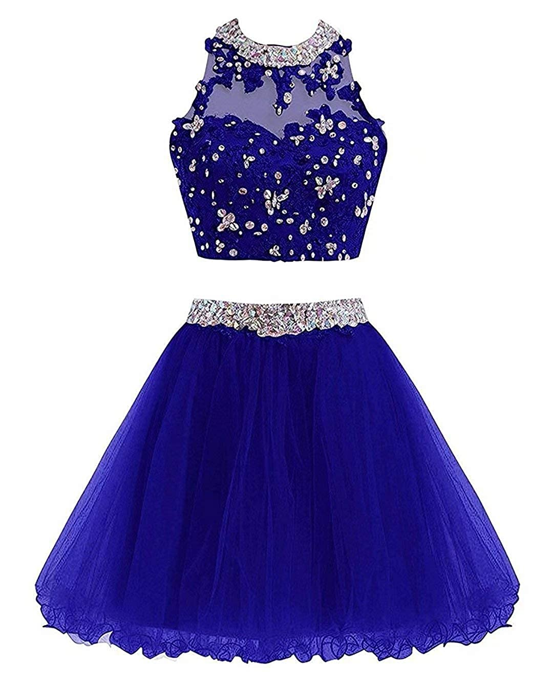 Royal blueeb Ubride 2019 Juniors' Short Two Pieces Beaded Halter Prom Homecoming Dress Cocktail Gown