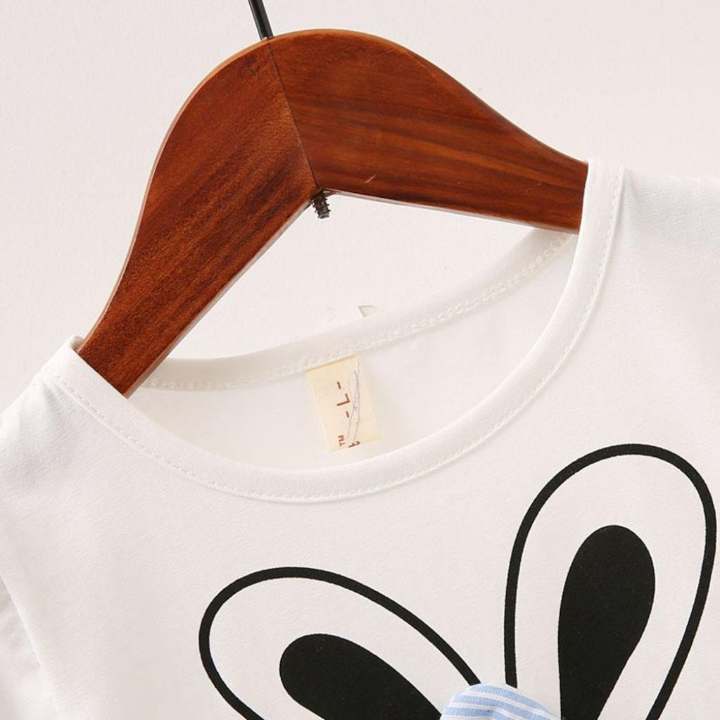 Dinlong Baby Girls Short Sleeve Rabbit Cartoon Bunny Ear Bow Strip Princess Dress