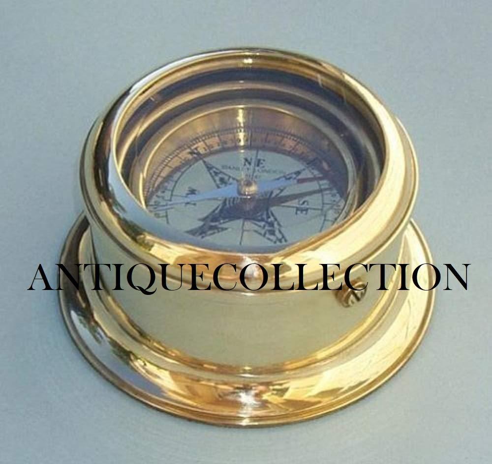 ANTIQUECOLLECTION ラウンド型ジンバル型真鍮デスクコンパス   B07JZXFY4B