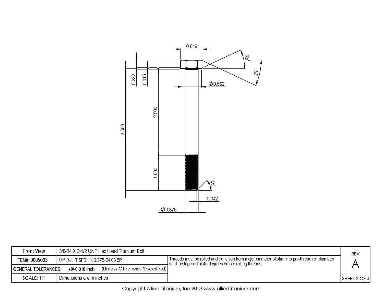 Grade 5 Pack of 2 3//8-16 X 5-1//2 UNC Titanium Hex Head Bolt Allied Titanium 0004281, Ti-6Al-4V