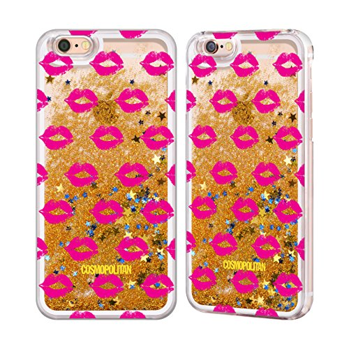 Official Cosmopolitan Pink Kiss Mark Gold Liquid Glitter Case Cover for Apple iPhone 6 / 6s