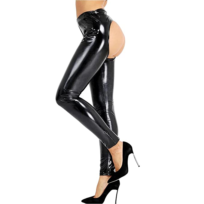 56cbe811d54221 ranrann Sexy Women's PVC Leather Wet Look Open Crotch & Butt Skinny Long  Legging Trousers Hot Pants at Amazon Women's Clothing store: