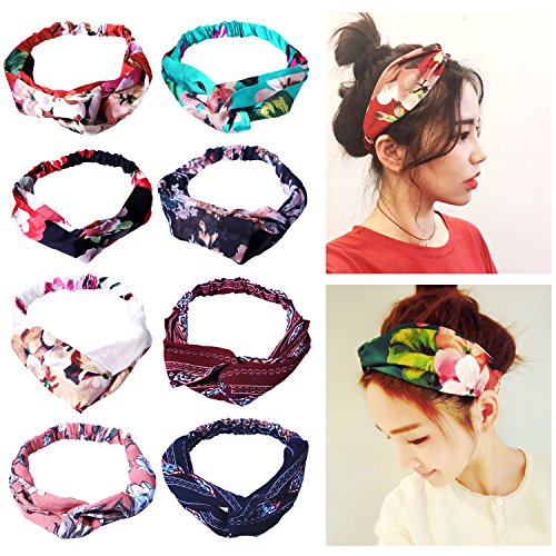 Amandir 8 Pack Headbands for Women Boho Cute Twist Headband Criss Cross Headband (Piece Headband 2)