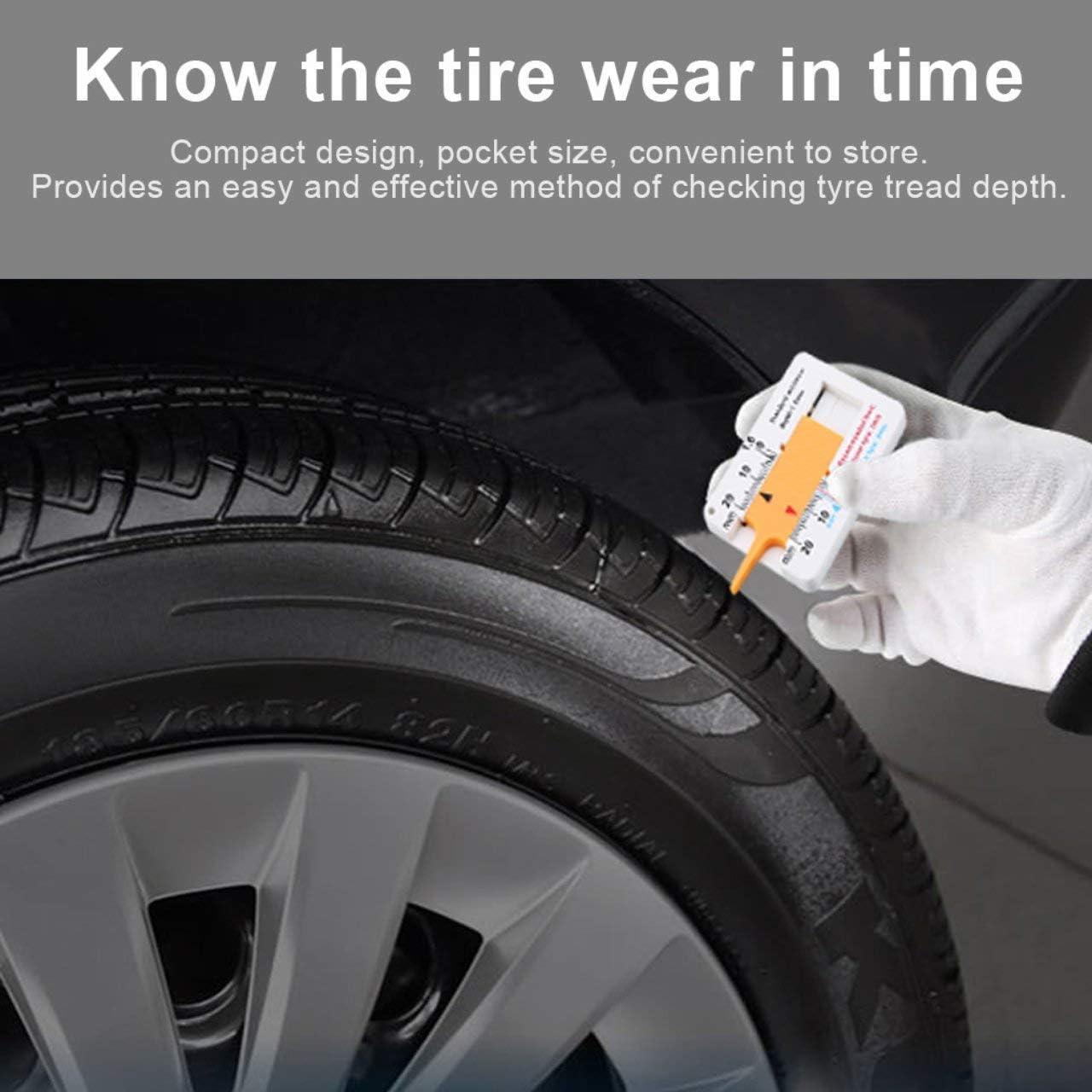 Easyeeasy Tyre Tread Depth Gauge Car Motorcycle Trailer Wheel Measure Tool Depth Caliper