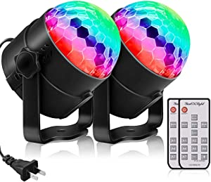YouOKLight Sound Activated Party Lights with Remote Control Dj Lighting,RGB Disco Ball Light, Strobe Lamp 7 Modes Stage Par Light for Home Room Dance Parties Bar Karaoke Xmas Wedding Show Club, 2 Pack