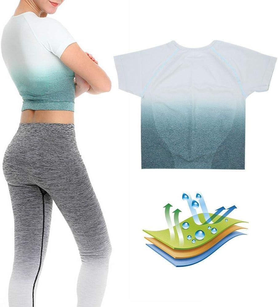 Zer one Camiseta de Secado r/ápido Mangas Cortas Entrenamiento Deportivo Athletic Fitness Running Yoga Crop Top para Mujer