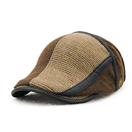 f0a6ad42ae0 Image Unavailable. Image not available for. Color  Topshion Men s Knitted  Wool Duckbill Hat Warm Newsboy Golf Flat Scally Cap Baker Driving Cap
