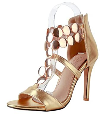 8a18a75a7f Mofri Women's Stylish Metallic Color T-Strap Stiletto High Heels Back  Zipper Ankle High Gladiator
