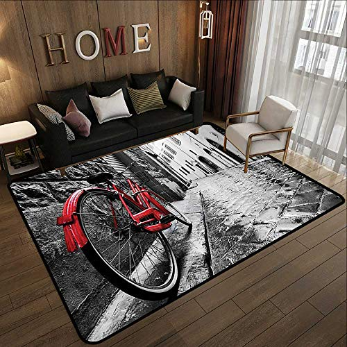 Outdoor Rugs,Bicycle Decor,Classic Bike on Cobblestone Street in Italian Town Leisure Charm Artistic Photo,Red Black and White 71