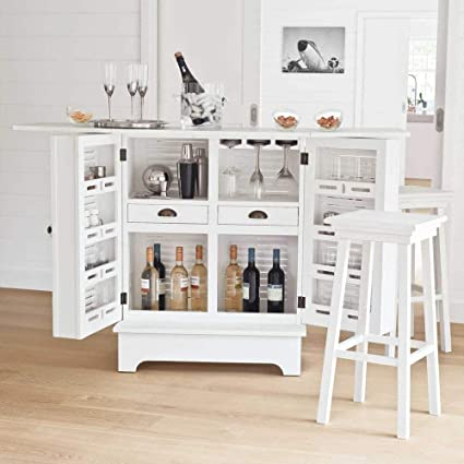 Aprodz Mango Wood Downer Stylish White Bar Cabinet with Wine Glass Storage for Living Room