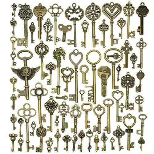 JIALEEY Vintage Skeleton Keys, Wholesale Bulk Lots Mixed Set of 70 Antique Bronze Brass Skeleton Castle Dungeon Pirate Keys, 7oz/200g