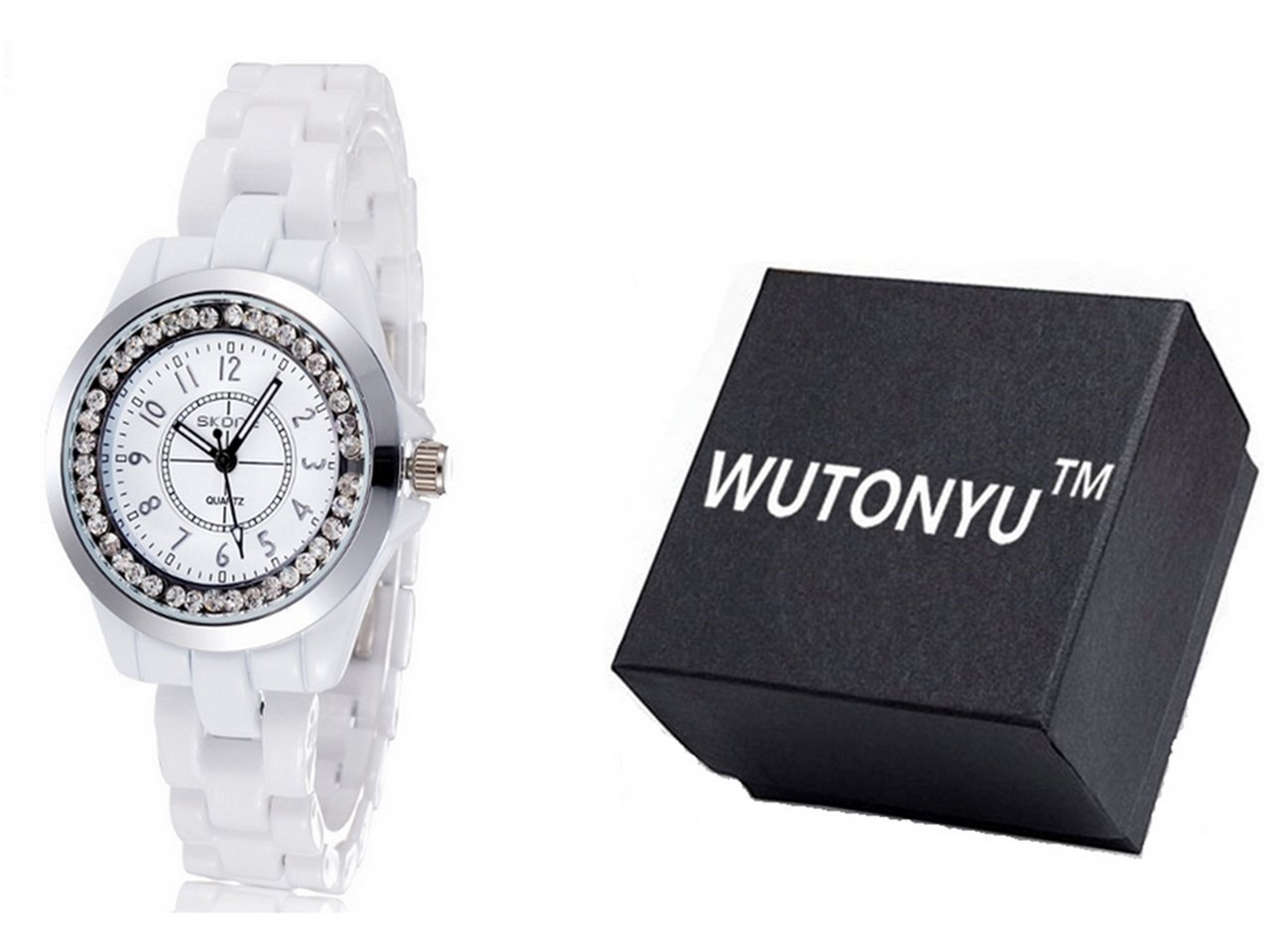 WUTONYU(TM) Women's White Ceramic Band Wrist Watch Luminous Rhinestones Quartz Watches(Silver) by WUTONYU (Image #2)
