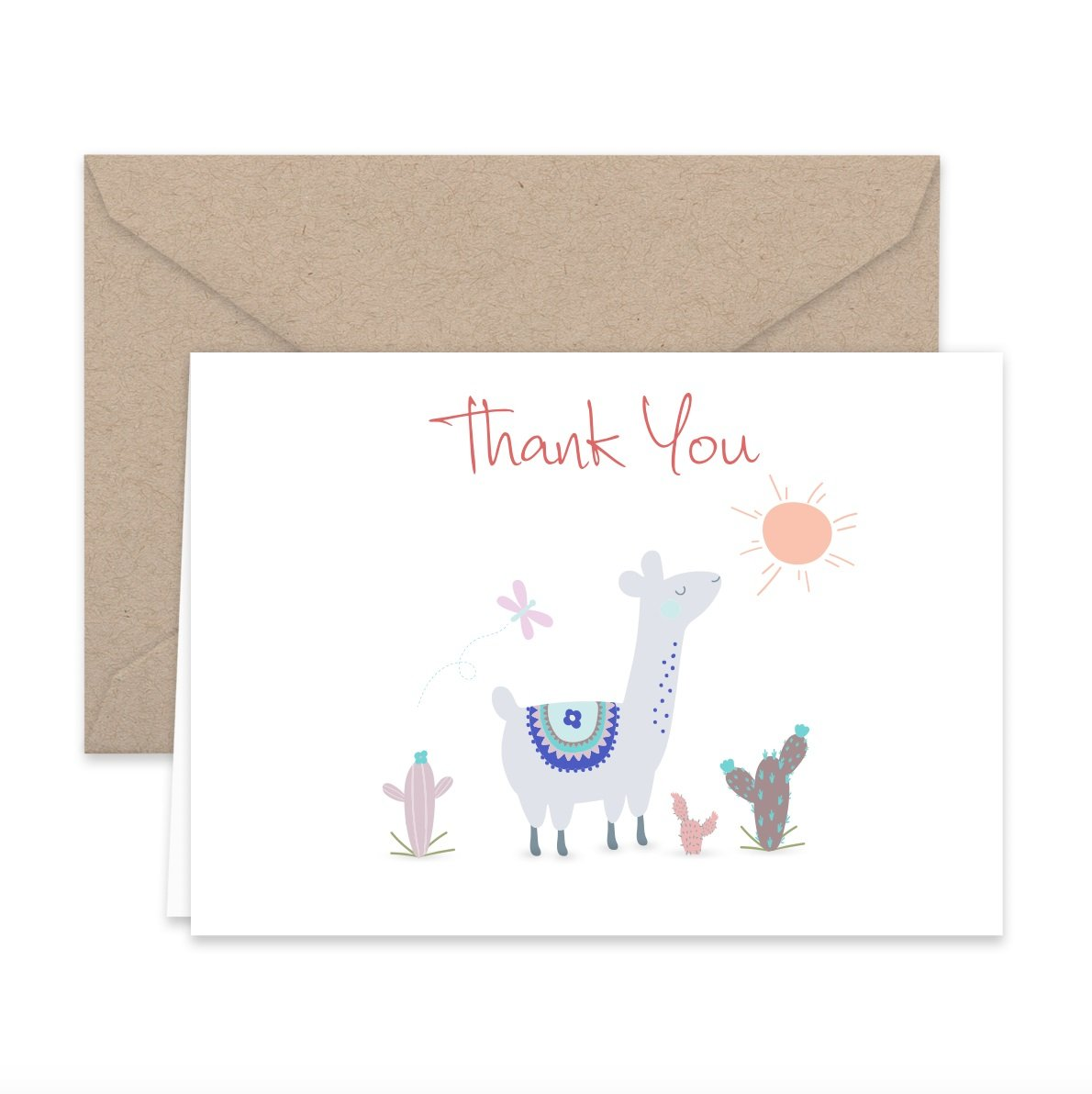 Amazon Paper Frenzy Llama Thank You Note Cards Kraft