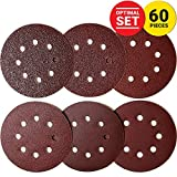 KoBzA 60 Pieces 5 Inch 8 Holes Sanding Discs - Hook and Loop Sandpaper Backing 10 of 40/60/80/120/180/240 Grit - Optimal Set Sandpaper Assortment for Random Orbital Sander Pads