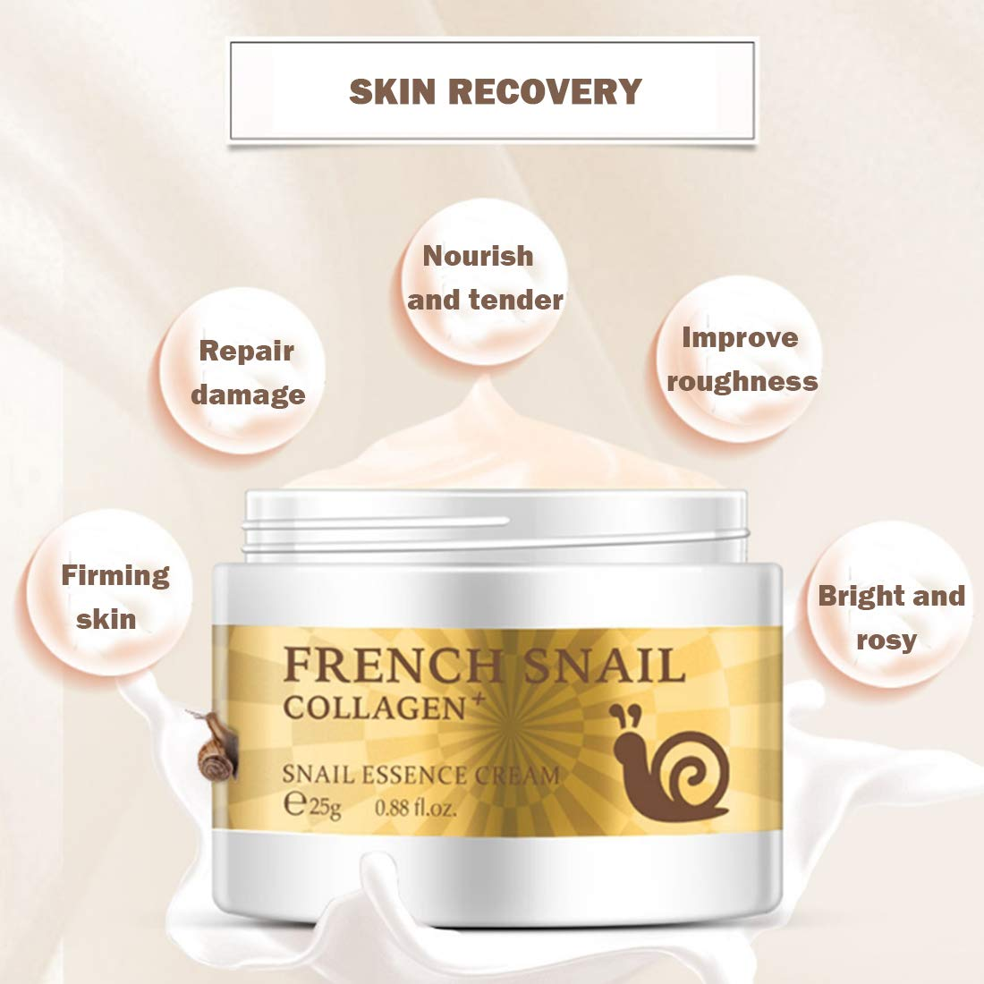 Loweryeah Snail Repair Anti-aging Cream 25g Collagen Moisturizing Nourish Repair Damaged Face Care Hyaluronic Acid Cream by Loweryeah (Image #3)