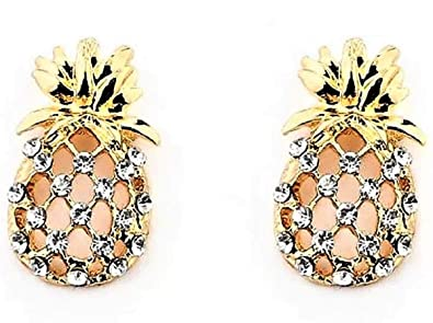 7094f3a80 Image Unavailable. Image not available for. Color: Super Cute  Hypoallergenic Rhinestone 18k Gold Plated Pineapple Stud Earrings
