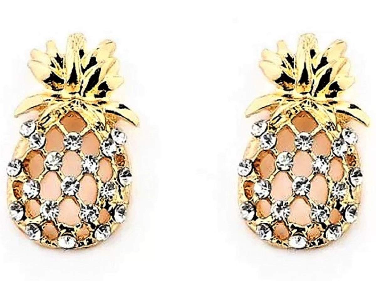 Super Cute Hypoallergenic Rhinestone Gold Pineapple Stud Earrings