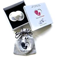 Silverfixy - Nursing Cups in Pure Silver - 999'' Carat - Healing and Soothing Cracked Sore Nipples - 2 Pieces Eco…