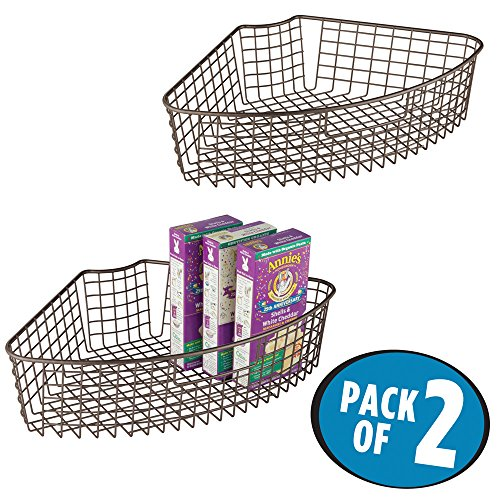 mDesign Lazy Susan Wire Storage Basket with Handle for Kitchen Cabinets, Pantry - Pack of 2, 1/4 Wedge, Bronze by mDesign