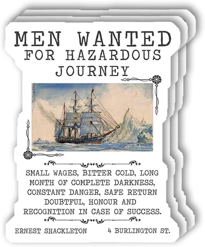 msgolbi 3 PCs Stickers Shackleton sailship Men Wanted Sticker for Laptop, Phone, Cars, Vinyl Funny Stickers Decal for Laptops, Fridge