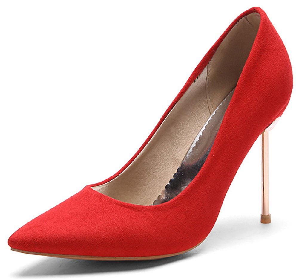 IDIFU Women's Stylish Faux Suede High Stiletto Heels Pointed Toe Slip On Low Top Pumps Shoes (Red, 8.5 B(M) US)