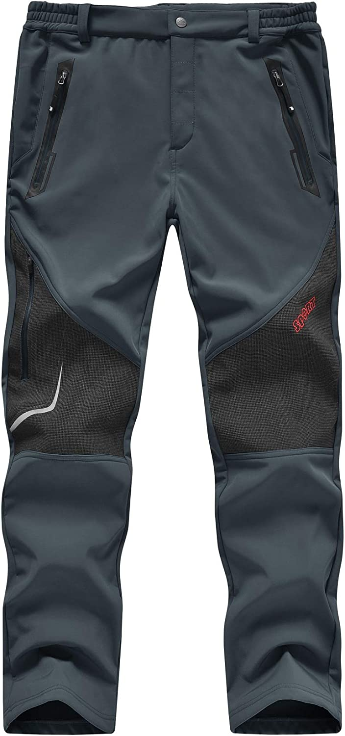 TBMPOY Mens Outdoor Fleece Lined Softshell Pants Waterproof Quick Dry Hiking Camping Pants